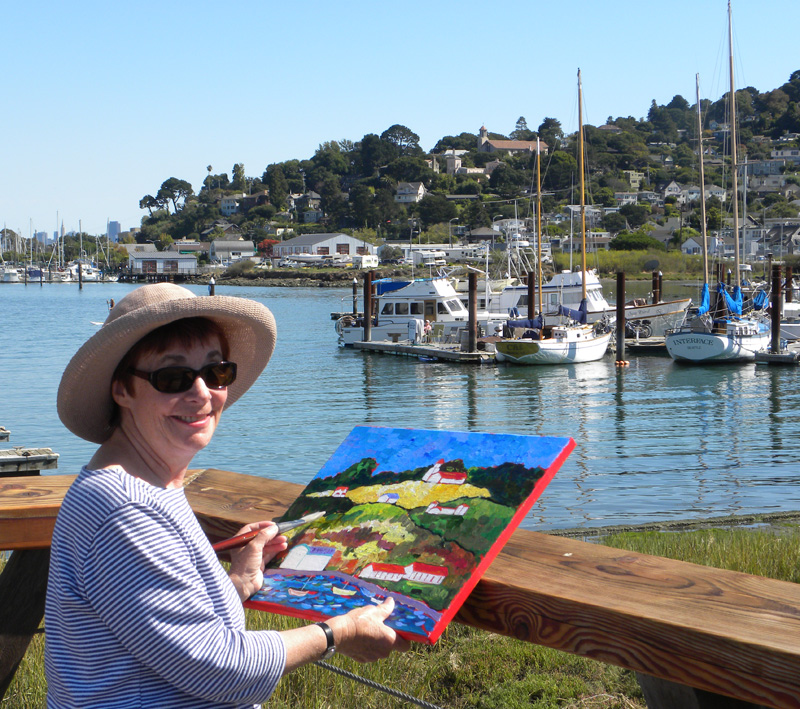 Mandy Weathers Painting at the Harbor in Sausalito, CA